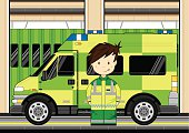 Paramedic with Ambulance Scene