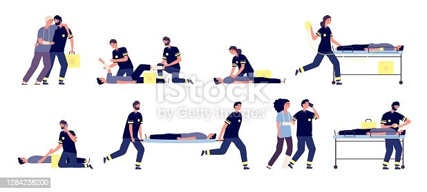 istock Paramedics. Medical emergency helping, first aid team. Ambulance services, paramedic and affected people. Vector healthcare staff set 1284238200