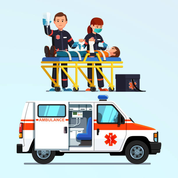 Paramedics rescuing & helping injured patient on a stretcher. Emergency fist aid rescue team ambulance car. Flat style vector Two paramedics emergency rescue team giving first aid to injured patient on stretcher. Ambulance car. Medicine and injury emergency paramedics first aid car. Flat vector isolated illustration ambulance staff stock illustrations