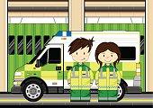 Paramedics with Ambulance Scene