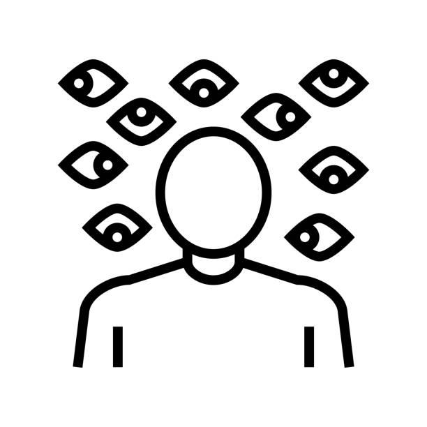 stockillustraties, clipart, cartoons en iconen met paranoia psychologische problemen lijn icoon vector illustratie - paranoïde