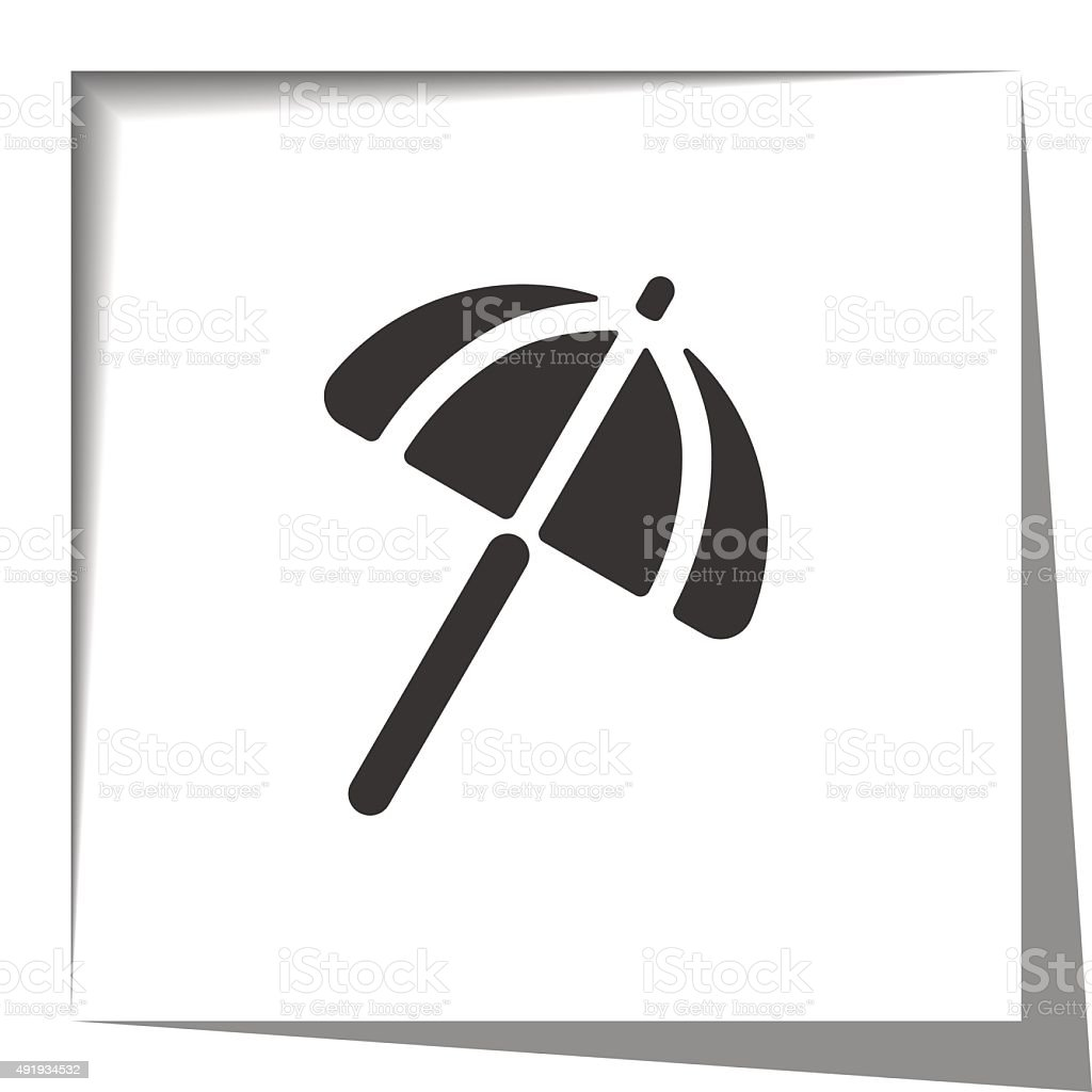 Parasol icon with cut out shadow effect vector art illustration