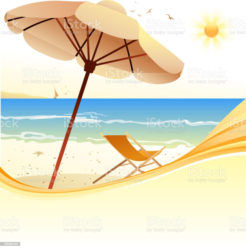 parasol on beach royalty-free stock vector art