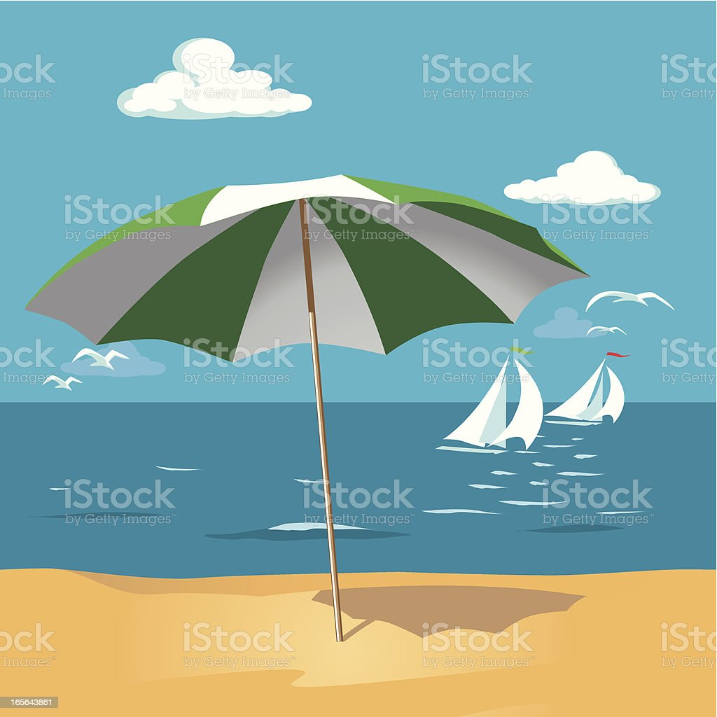 Parasol on the Beach royalty-free stock vector art