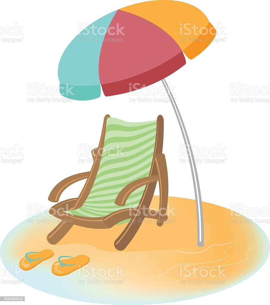Sonnenschirm strand clipart  Sonnenliege Und Sonnenschirm Flipflops Vektorcomic Vektor ...