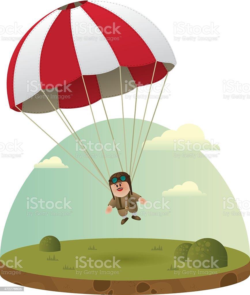 Paratrooper ! vector art illustration