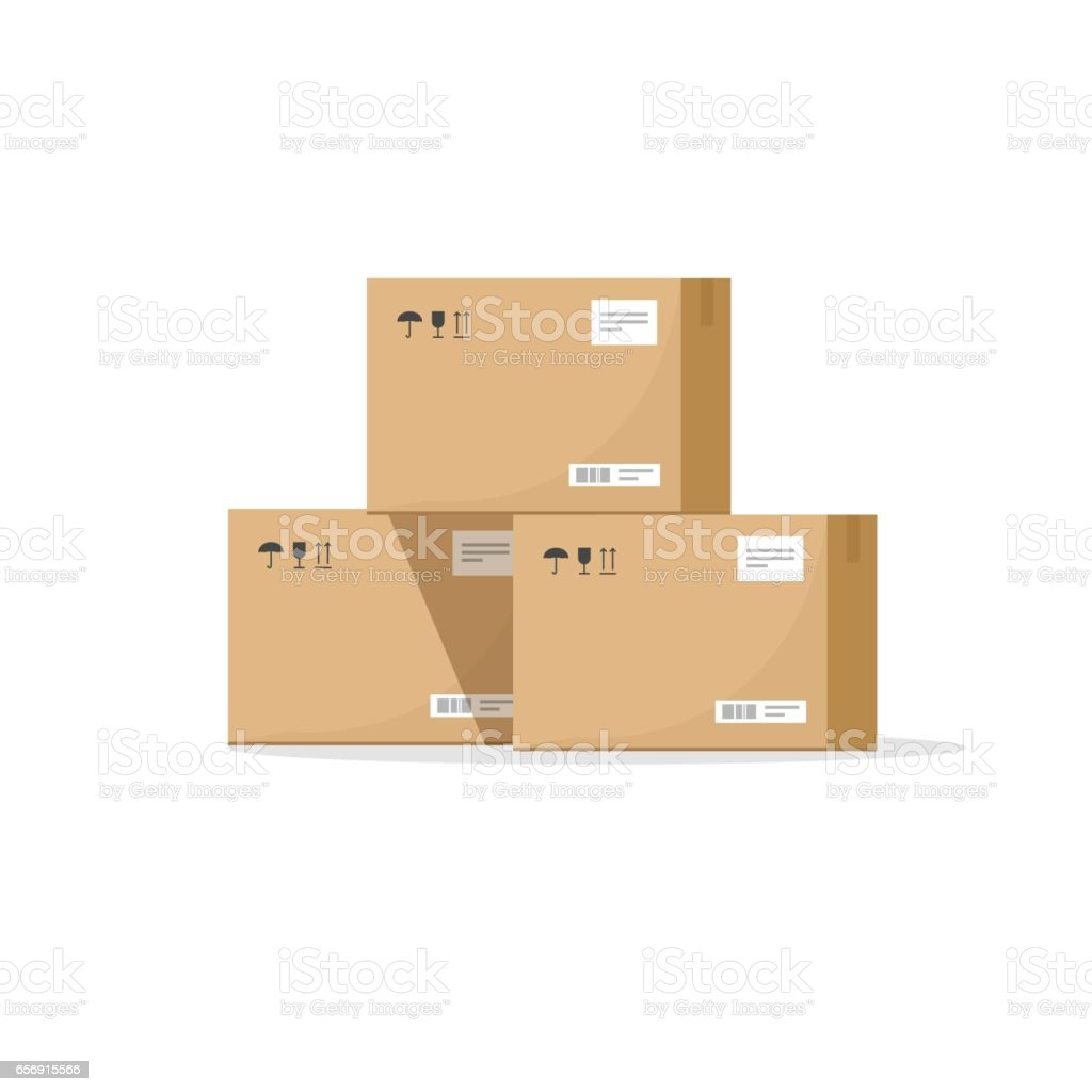 Parcel boxes carton vector illustration, warehouse parts, cardboard cargo shipment boxes