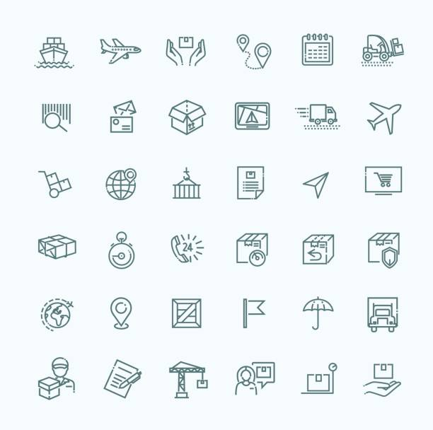 Parcel delivery service icon set. vector art illustration
