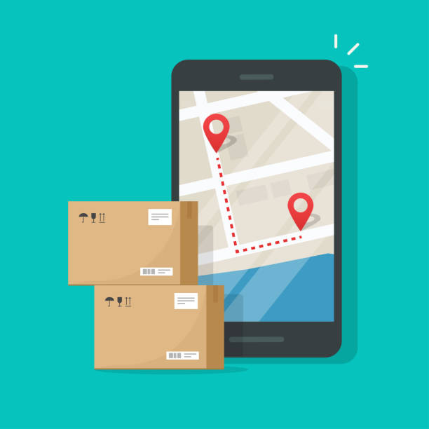 Parcel delivery tracking on cellphone or mobile phone vector, flat cartoon smartphone telephone with city map on screen and pin pointers destination location with packaging boxes, shipping logistic vector art illustration