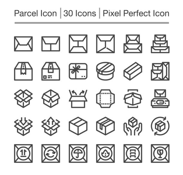 parcel icon parcel post,package line icon,editable stroke,pixel perfect icon bundle stock illustrations