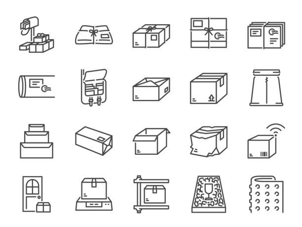 bildbanksillustrationer, clip art samt tecknat material och ikoner med ikonuppsättning för paketlinje. ingår ikoner som paket, låda, förpackning, frakt, leverans, post, bubbelplast, skum pellets och mycket mer. - paket