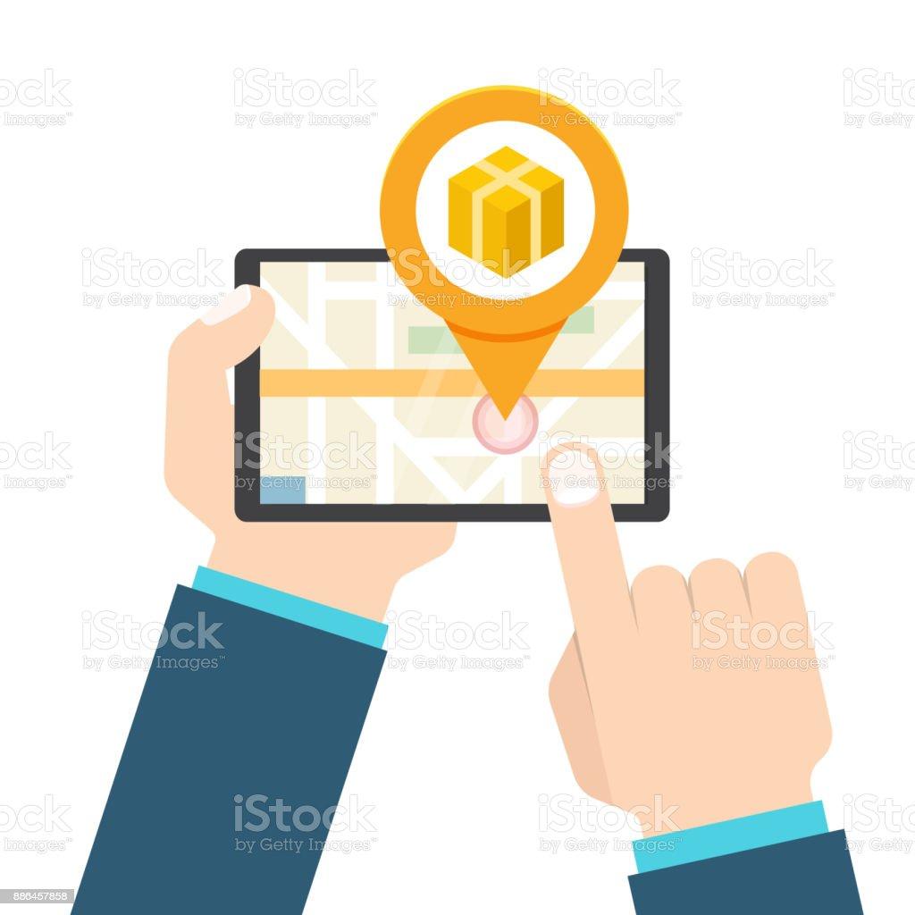 parcel package tracking online app concept vector illustration stock