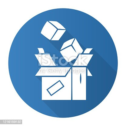 Parcel packing blue flat design long shadow glyph icon. Order packaging and wrapping. Cardboard box with goods. Postal service. Parcel delivery crate. Storage boxes. Vector silhouette illustration