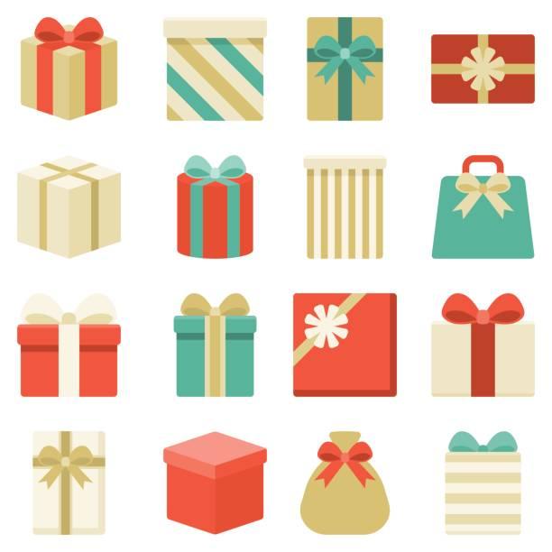 paczka, prezenty i kolorowa kolekcja pudełek prezentowych - gift stock illustrations
