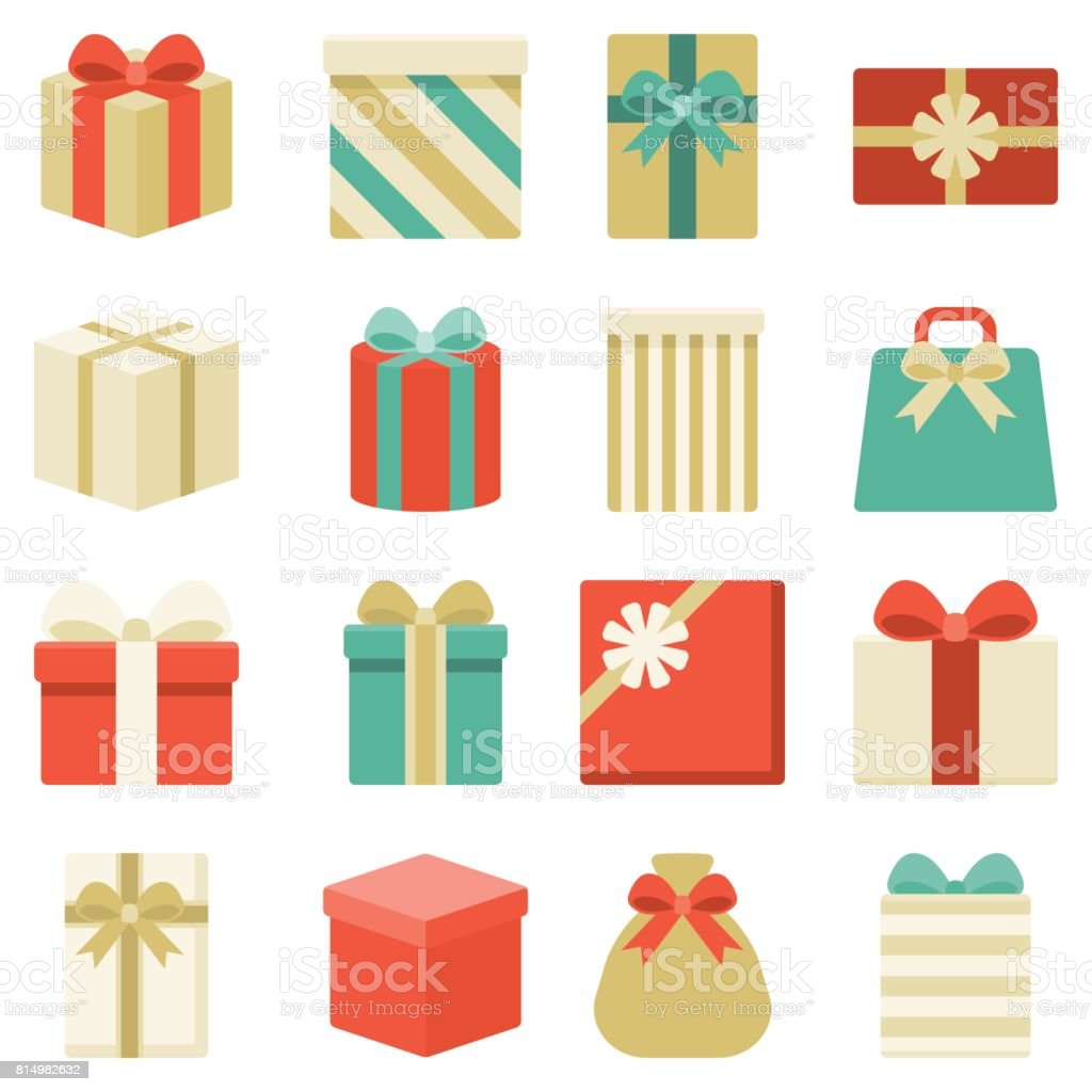 parcel, presents and colorful gift box collection vector art illustration