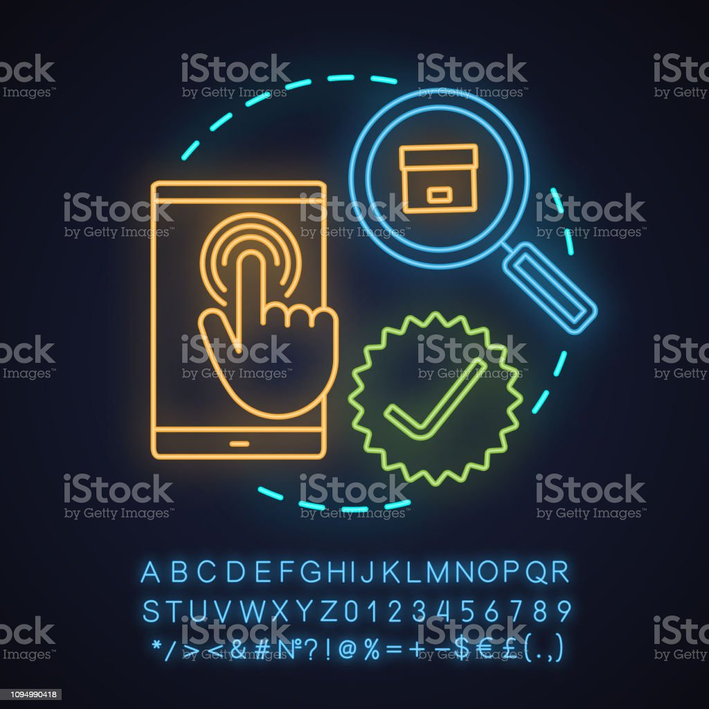 Parcel tracking app neon light concept icon. Glowing sign with...