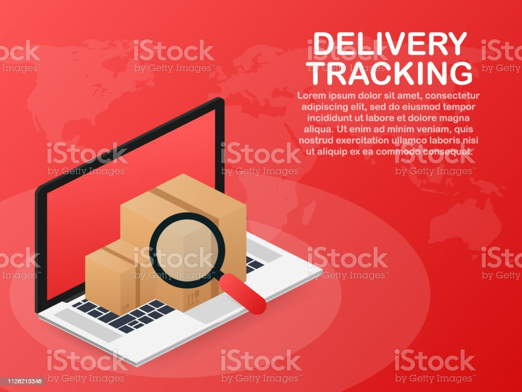 Parcel tracking website on laptop screen. Online package tracking....