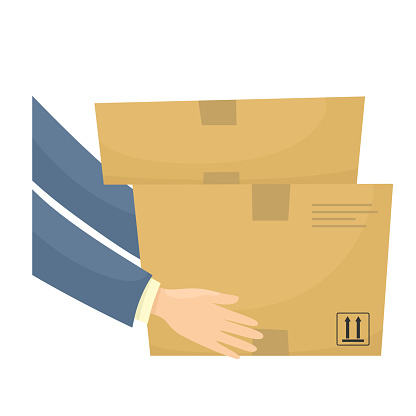 Parcels in hands, courier delivery. Vector illustration in cartoon flat style.
