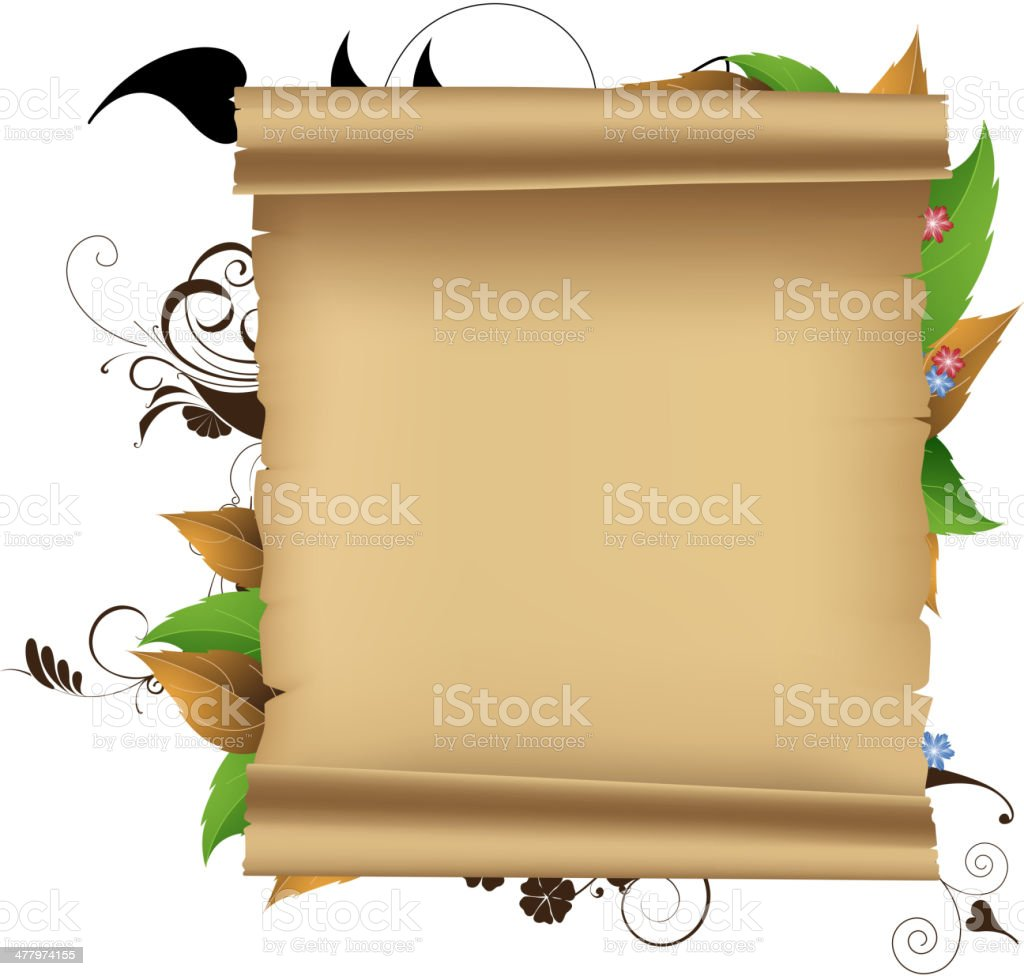 Parchment and plants royalty-free stock vector art