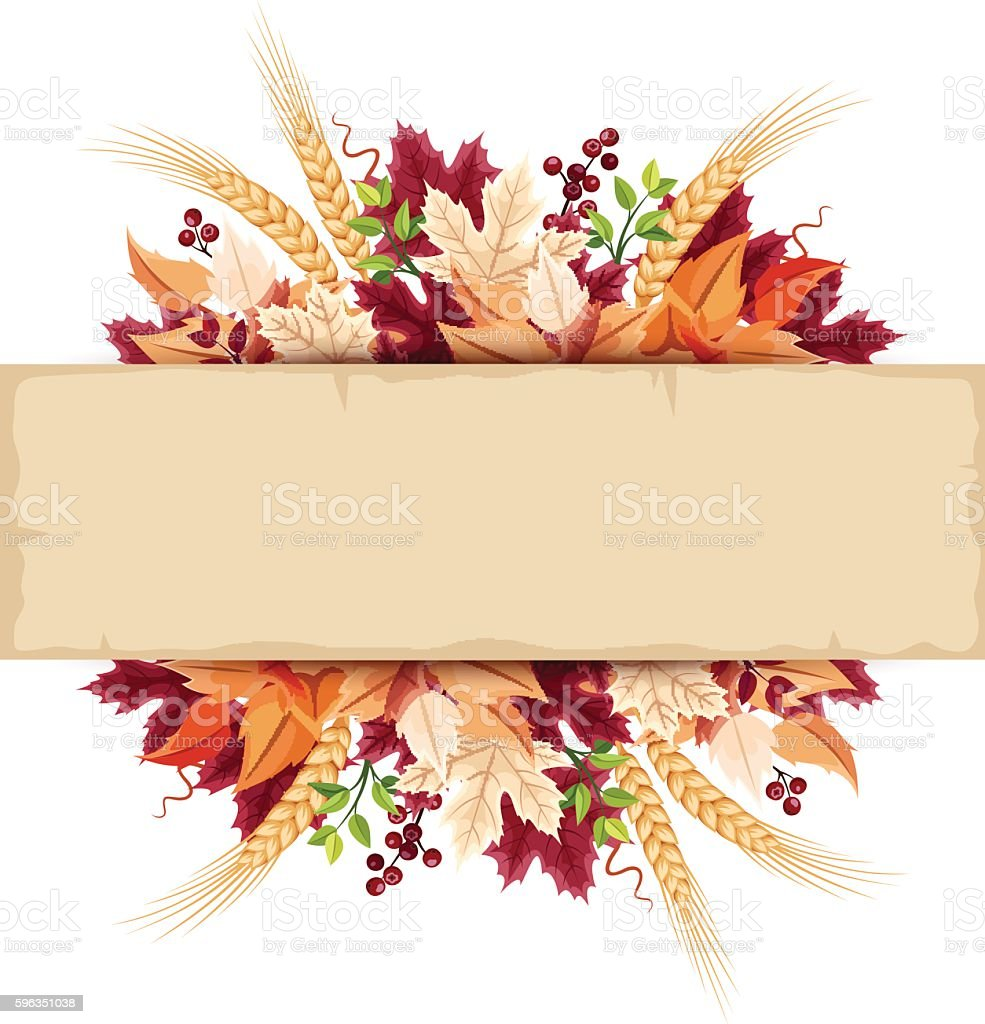 Parchment card with colorful autumn leaves. Vector eps-10. Lizenzfreies parchment card with colorful autumn leaves vector eps10 stock vektor art und mehr bilder von beere - obst