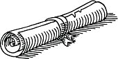 Hand-drawn vector drawing of a Parchment Roll. Black-and-White sketch on a transparent background (.eps-file). Included files are EPS (v10) and Hi-Res JPG.