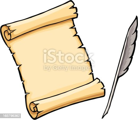 Parchment Scroll With Feather Quill stock vector art ...
