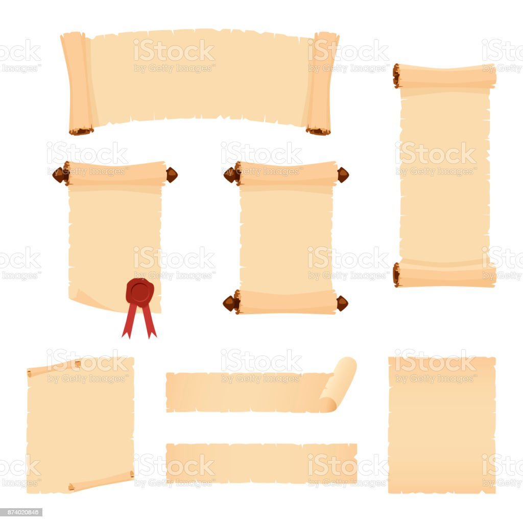 Parchment scrolls and sheets of old paper. Set of vector banners