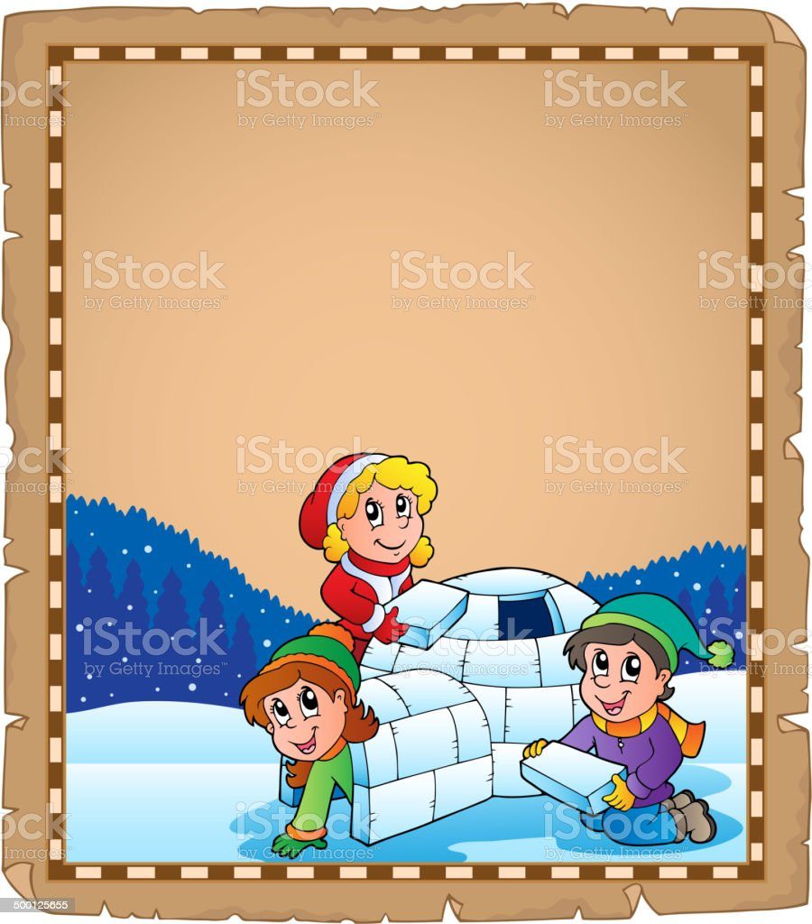 Parchment with children and igloo royalty-free stock vector art