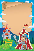 Parchment with knight by tent theme 1 - eps10 vector illustration.
