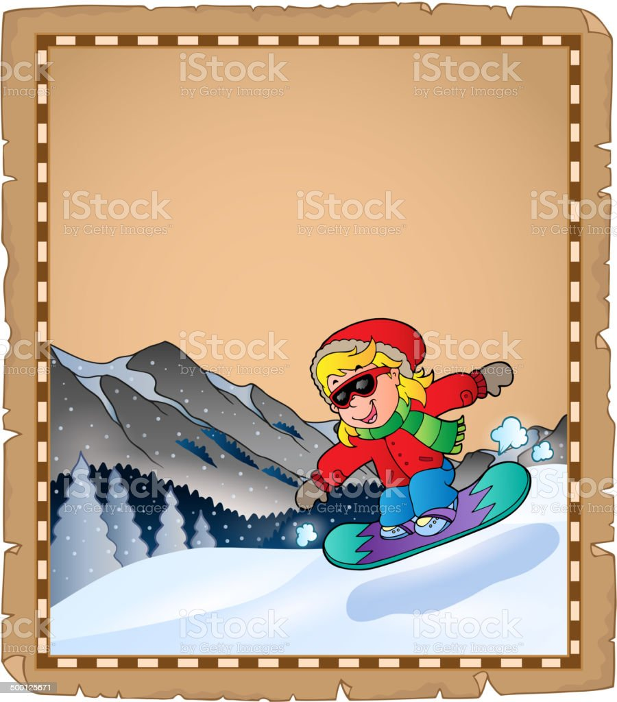 Parchment with winter sport theme 2 royalty-free stock vector art