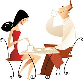 pareja de adultos jóvenes tomando café sentados en una mesa de un bar u otro lugar
