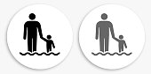 Parent and Child Black and White Round Icon. This 100% royalty free vector illustration is featuring a round button with a drop shadow and the main icon is depicted in black and in grey for a roll-over effect.