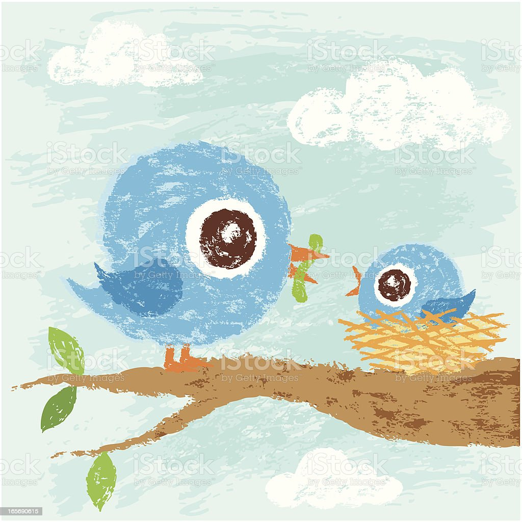 Parent and child of birds vector art illustration
