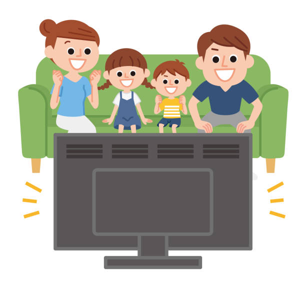 Parent and child watching TV Parent and child cheering while watching TV family watching tv stock illustrations