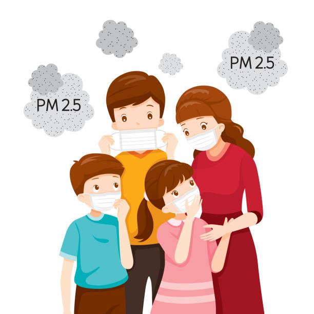 illustrations, cliparts, dessins animés et icônes de parent et enfant portant masque de pollution atmosphérique pour protéger la poussière pm 2.5, pm10, fumée, smog - enfant masque