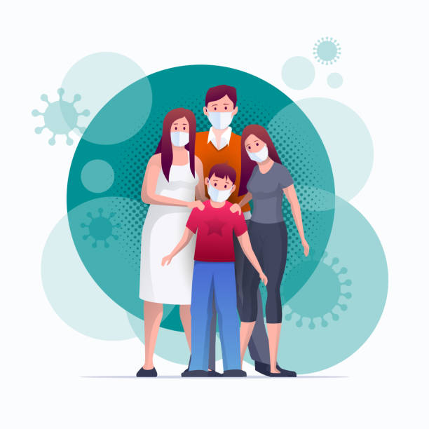 Parent and children are wearing masks for anti virus, prevent germs, cov-19. Family is protecting their children and them from virus COVID-19 and are wearing masks and stop the spread of viruses. Coronavirus quarantine. Vector illustration illness prevention stock illustrations