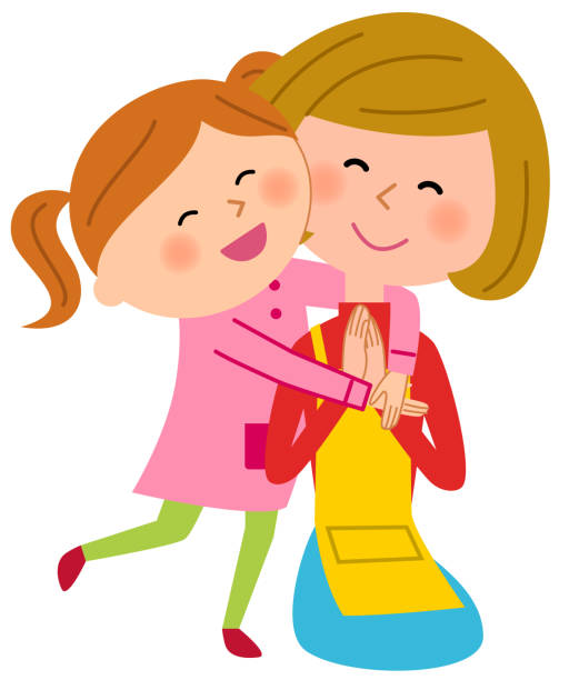 親と子の spoiled 子 - 母娘 笑顔 日本人点のイラスト素材/クリップアート素材/マンガ素材/アイコン素材