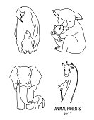 Parent and kid vector animals coloring page part 1