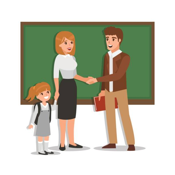 Parent and teacher vector art illustration