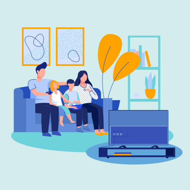 Parent couple, boy and girl watching TV Parent couple, boy and girl watching TV. Parents with two kids, popcorn sitting together on couch, enjoying movie. Vector illustration for home interior, living room, entertainment concept family watching tv stock illustrations
