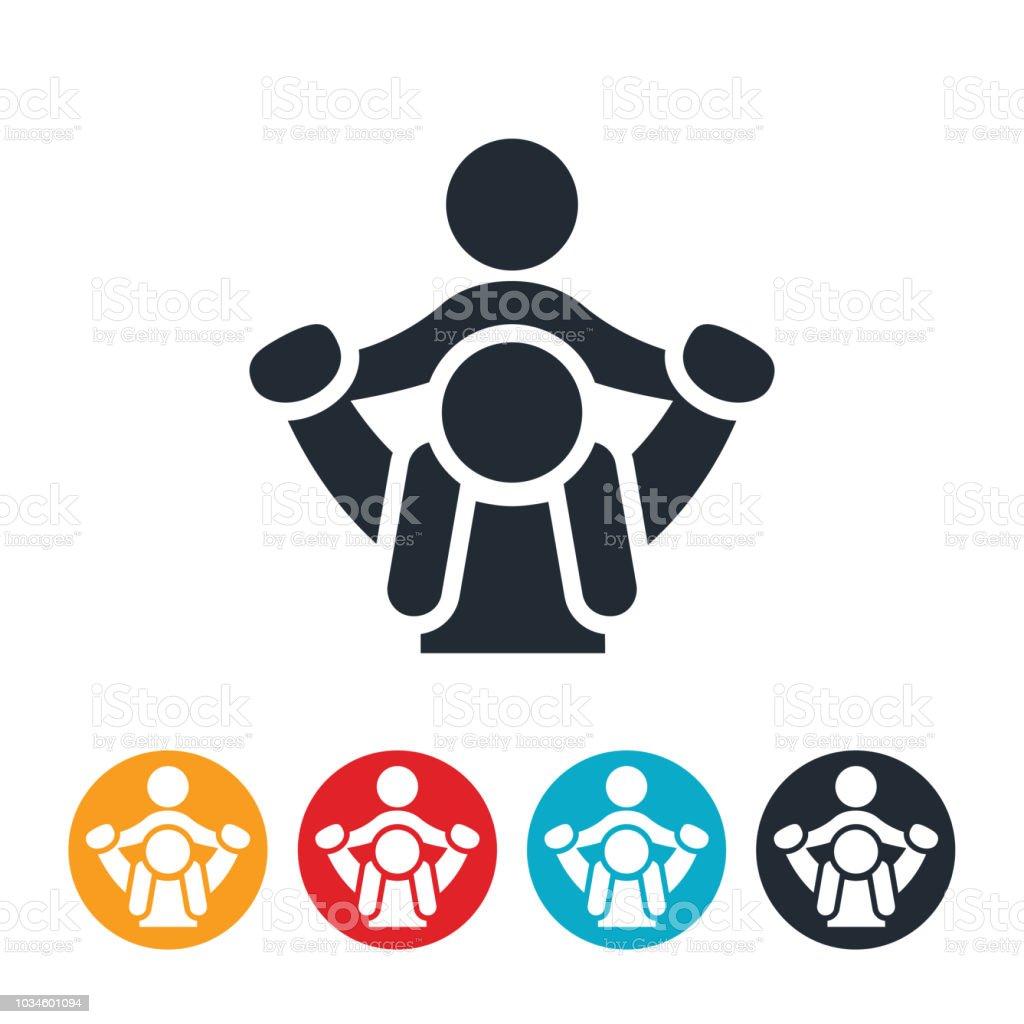 Parent Giving Child Piggyback Ride Icon vector art illustration