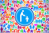 Parent Measuring Child's Height Family and Parenthood Vector Icon Pattern. The main icon is in white and is placed inside a blue circle with a thin dark blue rim. The circle is in the center of the composition. The background is filled with family and parenthood icons. These icons form a seamless pattern and vary in size and color. The colors are vibrant nd the icons cover a wide range of parenting topics and family values. The image is horizontal.