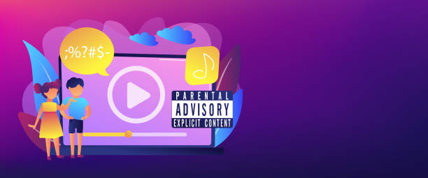 Parental advisory music concept banner header. Children at laptop listening to music with parental advisory label warning. Parental advisory, explicit content, kids warning label concept. Header or footer banner template with copy space. lyric stock illustrations