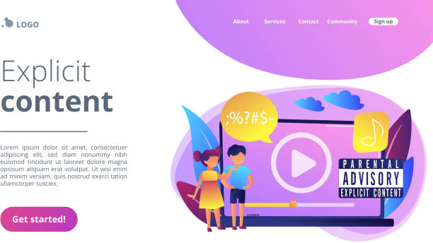 Parental advisory music concept landing page. Children at laptop listening to music with parental advisory label warning. Parental advisory, explicit content, kids warning label concept. Website vibrant violet landing web page template. lyric stock illustrations