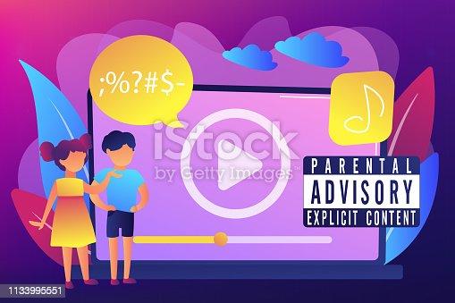 istock Parental advisory music concept vector illustration. 1133995551