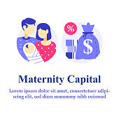 Parental or family leave program, maternity or paternity capital, money payment for first child birth, financial support or loan, annual allowance, young mother and father couple holding baby