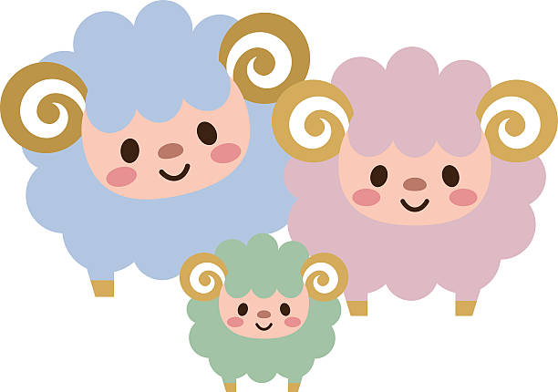 Parent-child of sheep vector art illustration
