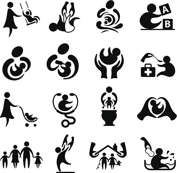 Parenting Icon Set vector art illustration