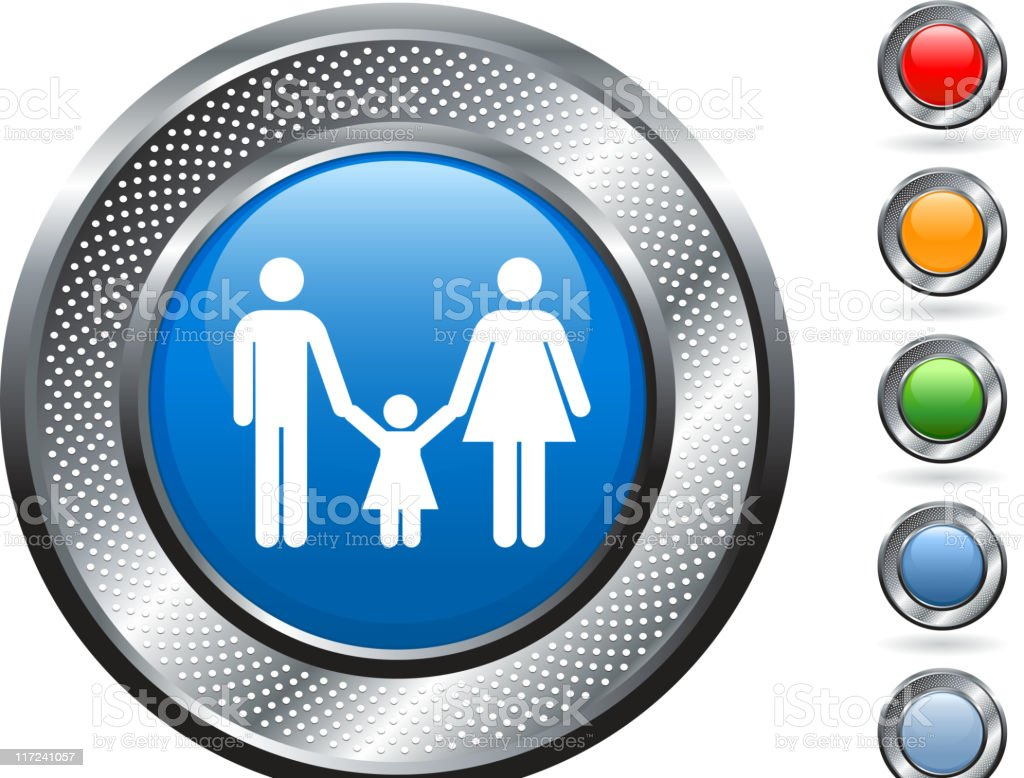 parents and a child icon on metallic button vector art illustration