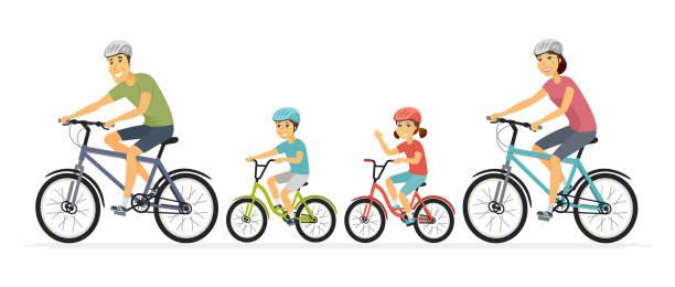 bildbanksillustrationer, clip art samt tecknat material och ikoner med föräldrar och barn cykling-tecknad person tecken illustration - cykla
